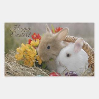 "Easter - ""Happy Easter"" Baby Bunnies Rectangular Sticker"