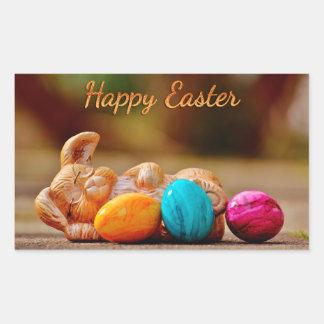 "Easter - ""Happy Easter"" - Sleepy Bunny/Eggs Rectangular Sticker"