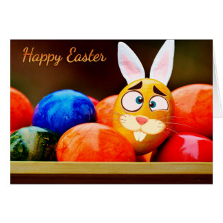 "Easter - ""Happy Easter"" - Smiley Bunny/Eggs Card"