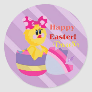 Easter Hatched Chick Custom Round Stickers