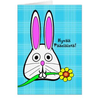Easter in Finnish, Hyvää Pääsiäistä, Cute Bunny Greeting Card
