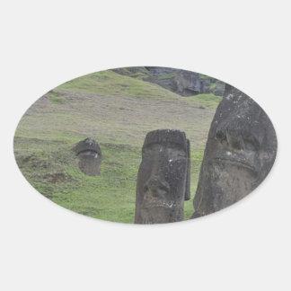Easter Island Moai Oval Sticker