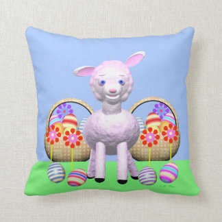 Easter Lamb, Eggs and Spring Flowers Cushion