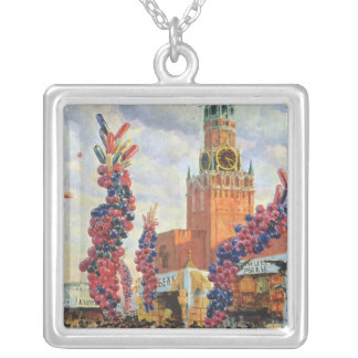 Easter Market at the Moscow Kremlin, 1917 Silver Plated Necklace