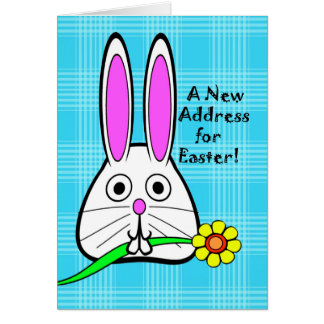 Easter, New Address Announcement, Cute Bunny Card