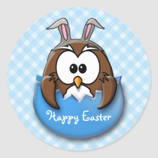 Easter owl - blue round stickers