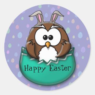 Easter owl - green round sticker