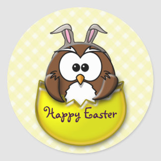 Easter owl - yellow round sticker