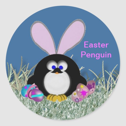 Easter Penguin Round Stickers