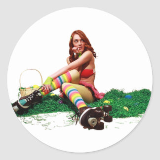 Easter Pin Up Round Sticker