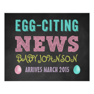Easter Pregnancy Announcement Chalkboard Sign Poster