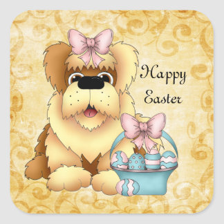 Easter Puppy Holiday cartoon sticker