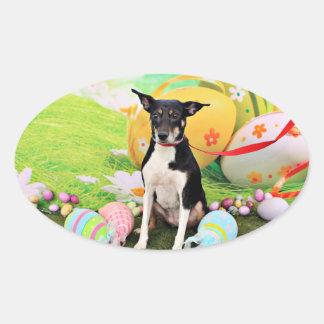 Easter - Rat Terrier - Georgia Oval Sticker