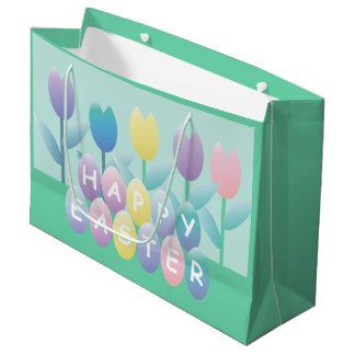 Easter Tulips and Eggs Cute LGB Large Gift Bag
