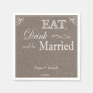 Eat Drink and be married brown fabric napkins Disposable Serviette
