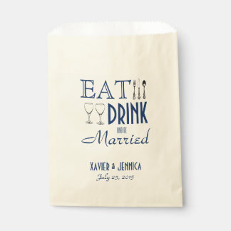 Eat Drink and be Married Personalized Silverware Favour Bags