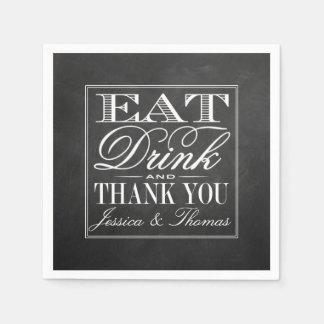 Eat, Drink & Be Married Chalkboard Wedding Disposable Napkin