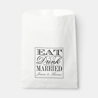 Eat, Drink & Be Married Modern Black/White Wedding Favour Bags