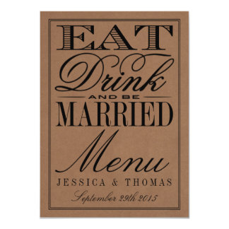 Eat, Drink & Be Married Rustic Kraft Wedding 11 Cm X 16 Cm Invitation Card