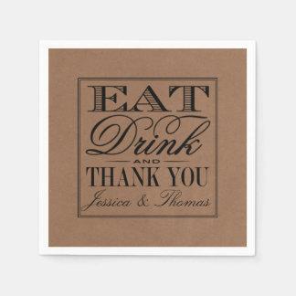 Eat, Drink & Be Married Rustic Kraft Wedding Disposable Napkins