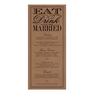 Eat, Drink & Be Married Rustic Kraft Wedding Rack Card