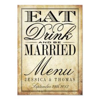 Eat, Drink & Be Married Vintage Wedding Menus Card