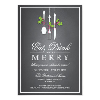 Eat Drink & Be Merry Christmas Holiday Invitation