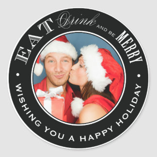 EAT, DRINK & BE MERRY | HOLIDAY ENVELOPE SEAL ROUND STICKER