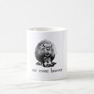 eat more beaver classic white coffee mug