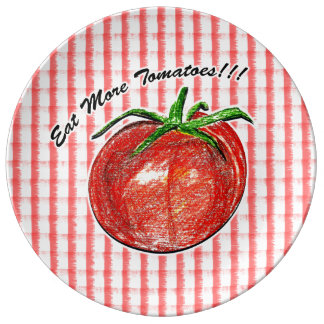 Eat More Tomatoes!!!  Decorative Porcelain Plate