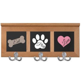 Eat Play Love Dog Paw Print Bone and Heart Coat Racks
