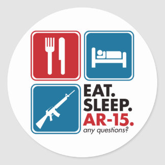 Eat Sleep AR-15 - Red and Blue Classic Round Sticker