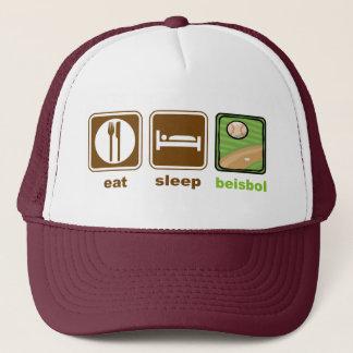 eat sleep beisbol trucker hat