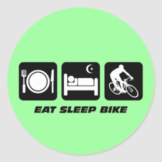 Eat sleep bike round sticker