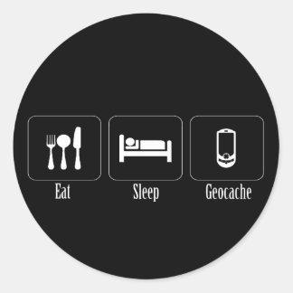 Eat, Sleep, Geocache Round Stickers