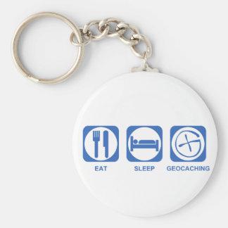 Eat Sleep Geocaching blue Key Ring