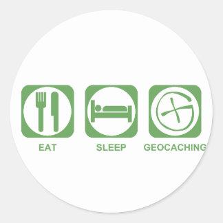 Eat Sleep Geocaching Round Sticker