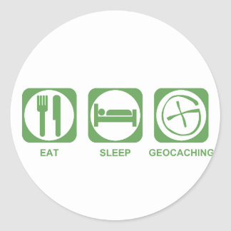Eat Sleep Geocaching Round Stickers