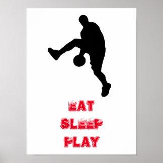 Eat Sleep Play Basketball Player Silhouette Poster