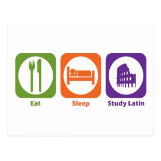 Eat Sleep Study Latin Post Cards