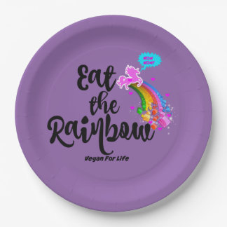 Eat the Rainbow- Vegan for life paper plates set