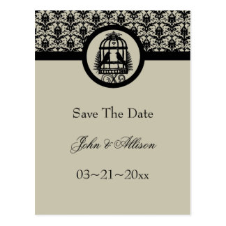 Ebony Lovebird Cage Save The Date Postcard