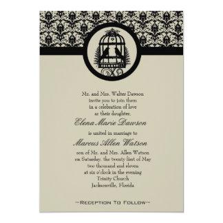 Ebony Lovebird Cage Wedding Invitation