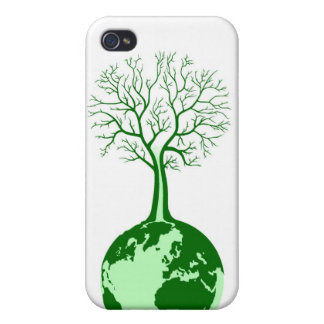 Eco friendly green earth and tree ipod casing iPhone 4/4S cases