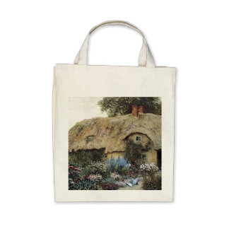 Eco-Friendly Vintage Country Cottage Flower Garden Tote Bag