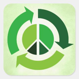 Eco Peace Square Stickers