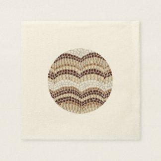 Ecru cocktail paper napkins with beige mosaic