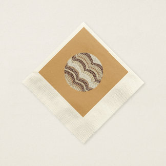 Ecru coined cocktail napkins with beige mosaic disposable serviette