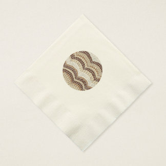 Ecru coined luncheon napkins with beige mosaic paper napkin