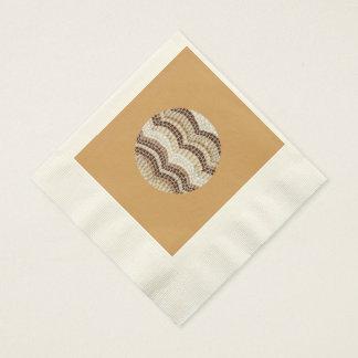 Ecru coined luncheon napkins with beige mosaic paper serviettes